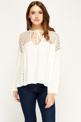 Art Love Mesh Insert Box Blouse