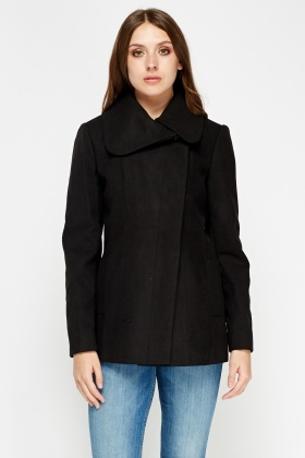 Black Fitted Casual Coat