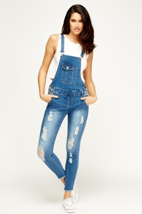 By Swan Distressed Blue Dungarees