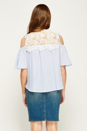 By Swan Mesh Insert Blue Top