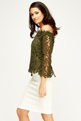 By Swan Off shoulder Olive Mesh Top