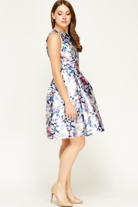 F & P Pleated Multi Printed Dress