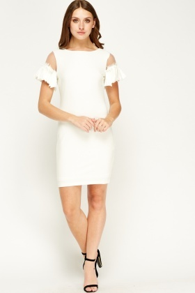 F & P Pleated Sleeve Off White Dress