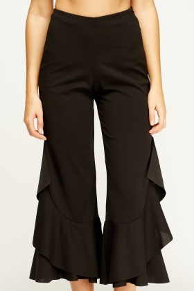 Flam Mode Flared Hem Black Trousers