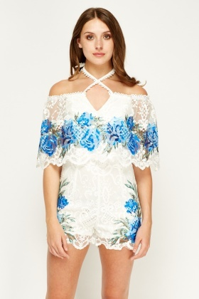 Flam Mode Halterneck Printed Off Shoulder Playsuit