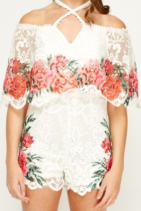Flam Mode Mesh Printed Off Shoulder Playsuit