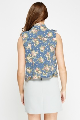 Floral Print Sleeveless Denim Jacket