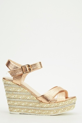 Ideal Contrast Ankle Strap Wedge Sandals