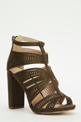 Laser Cut Detailed Block Heel