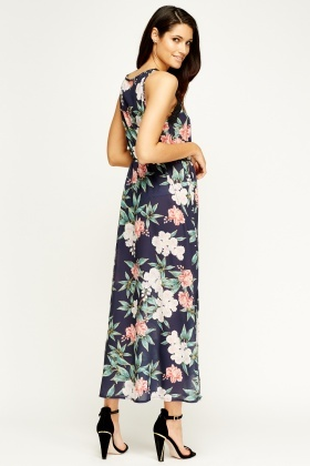 Italy Moda Floral Tie Up Maxi Dress
