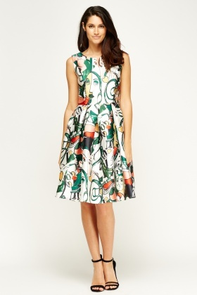 Jaune Rouge Cubism Print Skater Dress