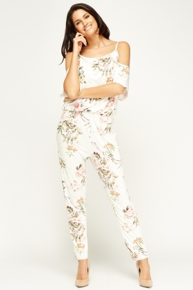 Kimi And Co Cream Floral Jumpsuit