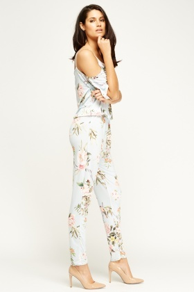 Kimi And Co Sky Blue Cold Shoulder Jumpsuit