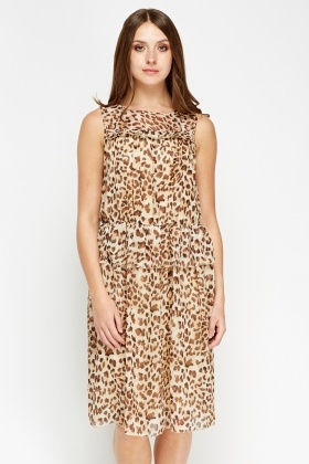 Leopard Print Beige Midi Dress