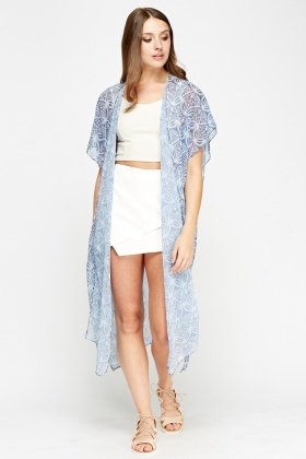 Mix Print Long Cover Up