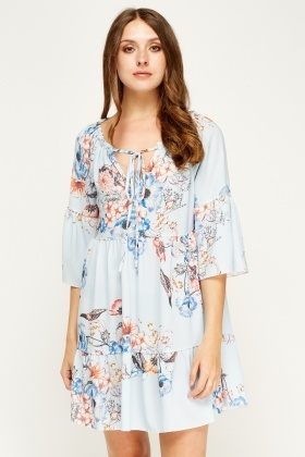 New Collection Blue Floral Printed Dress