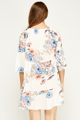 New Collection Floral Off White Dress