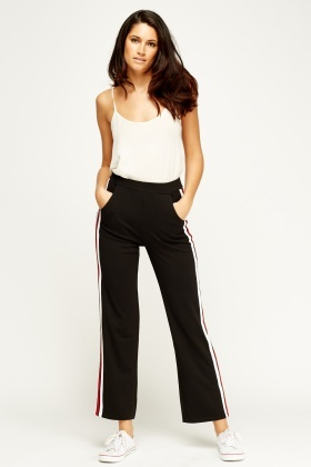 SHK Paris Stripe Side Black Trousers