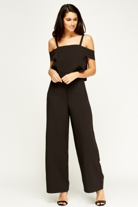 Sweewe Black Cut Out Shoulder Jumpsuit