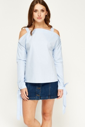 Sweewe Cold Shoulder Blue Top