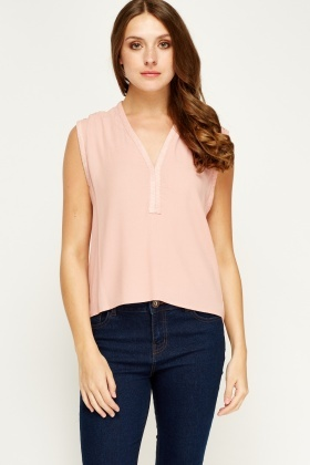 Sweewe Crochet Back Dusty Pink Top