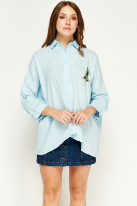 Sweewe Embroidered Blue Asymmetric Shirt