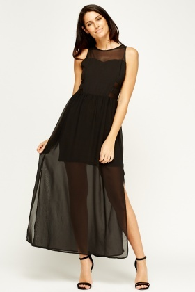 Sweewe Mesh Insert Black Maxi Dress