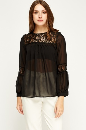 Sweewe Mesh Insert Black Sheer Blouse