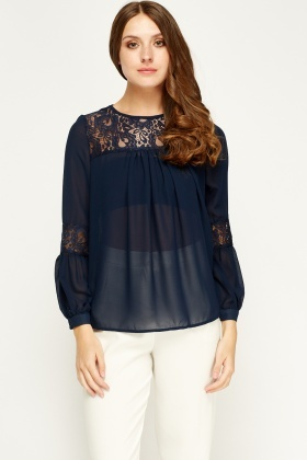 Sweewe Mesh Insert Sheer Navy Blouse
