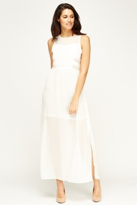 Sweewe Mesh Insert White Maxi Dress