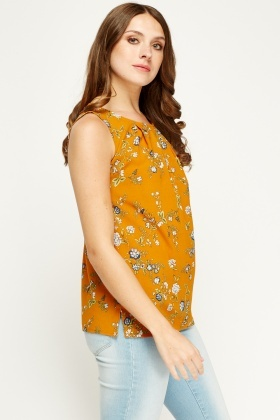 Tenki Mustard Pleated Neck Top