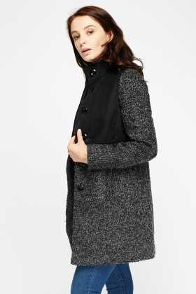Contrast Bobble Knit Coat
