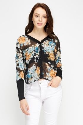 Contrast Floral Sheer Blouse