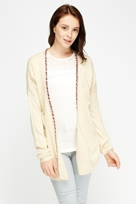 Contrast Trim Long Cardigan