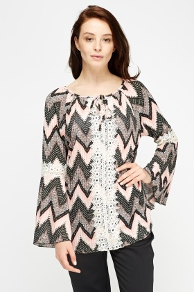 Crochet Panel Ribbed Top