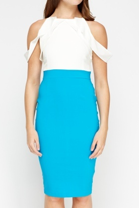 Frilled Contrast Bodycon Dress