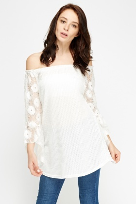 Lace Sleeve White Off Shoulder Top