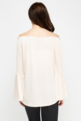 Peach Off Shoulder Flare Sleeve Top