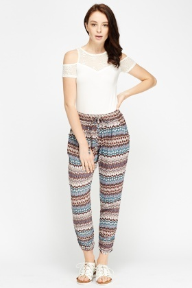 Printed Ruched Hem Trousers