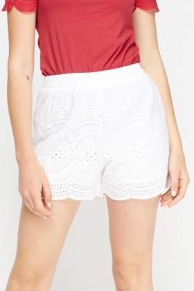 White Crochet Shorts Just 5