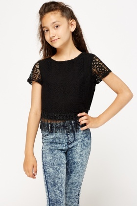 Black Fringed Hem Top