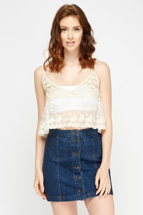 Crochet Cream Contrast Top