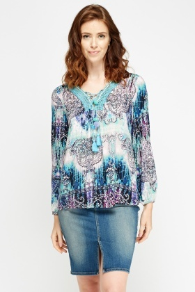 Mixed Print Detailed Neck Top