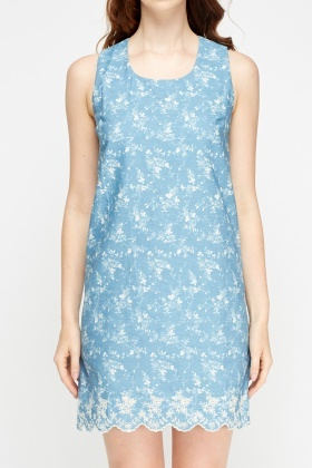 Stitched Flower Hem Sleeveless Dress