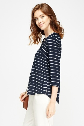 Striped Button Neck Top