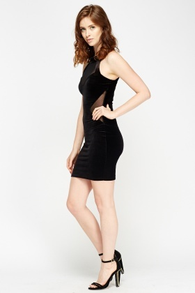 Sweetheart Mesh Insert Bodycon Dress
