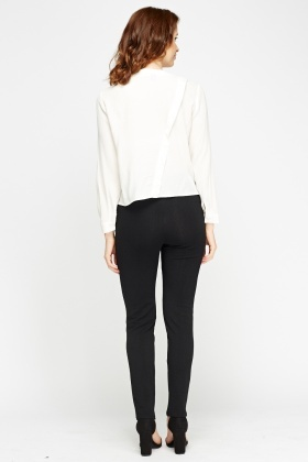 Textured Black Casual Trousers