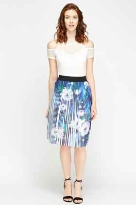 Violet Printed Pleated Skirt