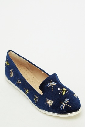 Embroidered Insert Velveteen Shoes