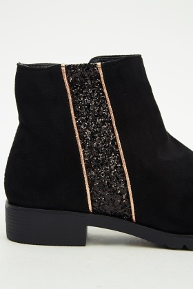 Glitter Panel Suedette Boots